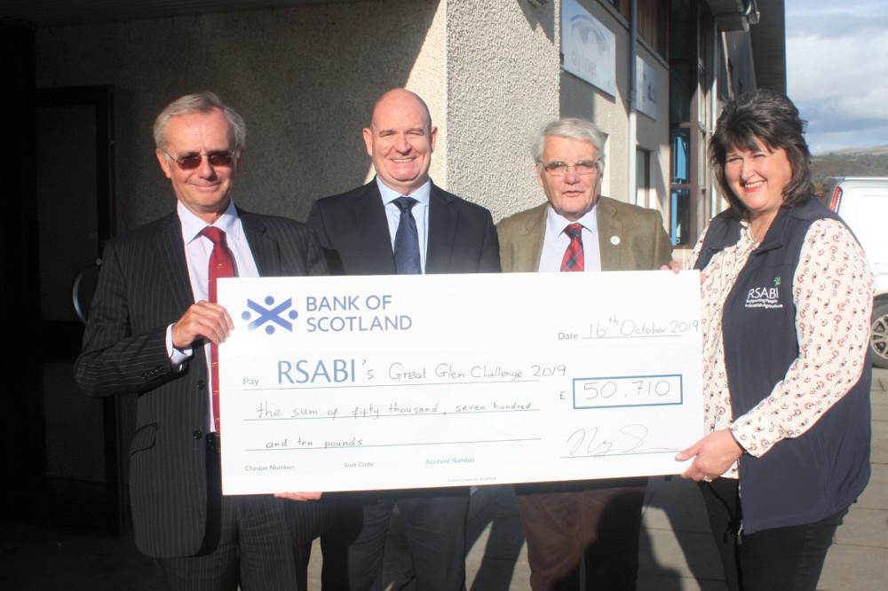 Jim Drysdale, Ledingham  Chalmers; Stuart Hamilton, Royal Bank of Scotland; Ewan Pate, RSABI chairman; and Margo Wills, RSABI development officer